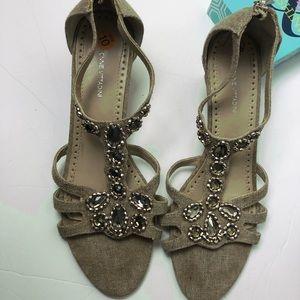 Adrienne Vittadini linen sandals, sz 10m